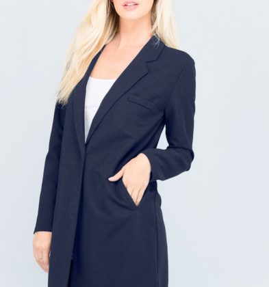 NAVY LONG BLAZER COAT WITH SIDE POCKET
