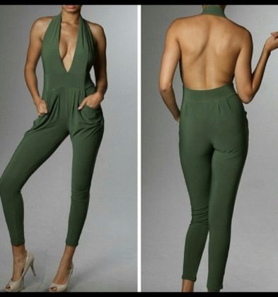 WOMEN GREEN JUMPER ROMPER