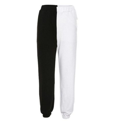 NEW HIGH WAIST BLACK WHITE SWEATPANTS