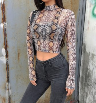 NEW BROWN SNAKE PRINT CROP TOP